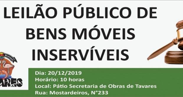 No dia 20/12/2019, às 10 horas, a Prefeitura Municipal de Tavares realizou Leilão Público de Bens Móveis Inservíveis.