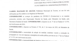 Prefeitura Decreta Medidas de Prevenção ao contágio pelo Novo Coronavírus (COVID-19) no âmbito da Administração Pública