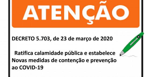 Atenção!! Prefeitura de Tavares ratifica calamidade e pública e estabelece novas medidas de prevenção e contenção à propagação do COVID-19.