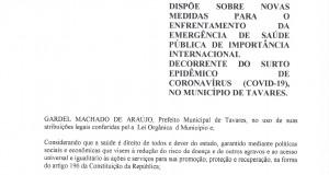 Decreto 5.704, de 23 de março de 2020 altera artigo 34 do Decreto 5.703, de 23/03/2020.