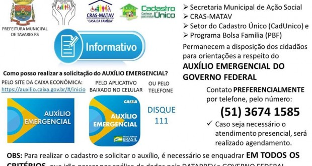 Informativo Secretaria de Ação Social a respeito do Auxílio Emergencial.