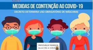 Decreto determina uso obrigatório de máscara facial em estabelecimentos e em vias públicas no município de Tavares