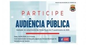 Prefeitura de Tavares convida para Audiência Pública de Avaliação das Metas Fiscais do 1º Quadrimestre de 2020.