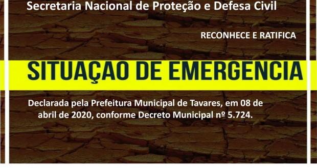Secretaria Nacional de Proteção e Defesa Civil reconhece e ratifica situação de emergência pela Estiagem decretada pelo Município de Tavares em 08 de abril de 2020.