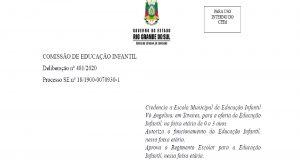 Prefeitura de Tavares torna público o credenciamento e autorização de funcionamento da Escola de Educação Infantil Vó Angelina Menegatti Costa.