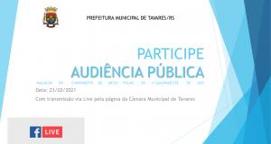Prefeitura convida para Audiência Pública de Avaliação das Metas Fiscais do 3º Quadrimestre de 2020