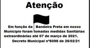Medidas Sanitárias -Decreto Municipal nº6098 – Bandeira Preta
